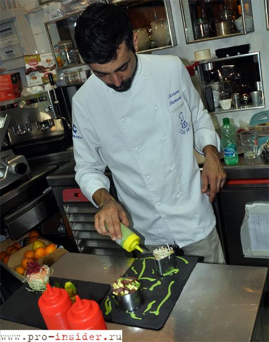 Тартар из лосося с манго от римского Hybris